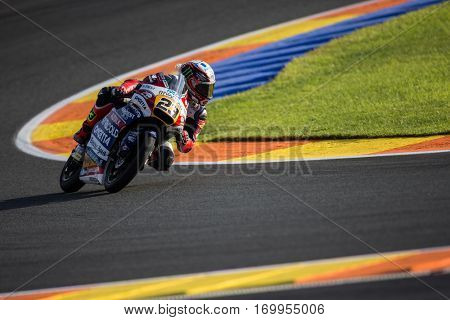 VALENCIA, SPAIN - NOV 11: Niccolo Antonelli during Moto3 practice in Motogp Grand Prix of the Comunidad Valencia on November 11, 2016 in Valencia, Spain.