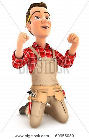 3d successful handyman on his knees illustration with isolated white background