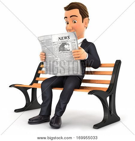 3d businessman reading newspaper on public bench illustration with isolated white background