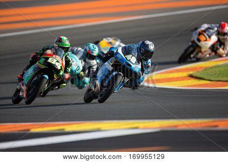 VALENCIA, SPAIN - NOV 11: 48 Dalla, 84 Kornfeil during Moto3 practice in Motogp Grand Prix of the Comunidad Valencia on November 11, 2016 in Valencia, Spain.