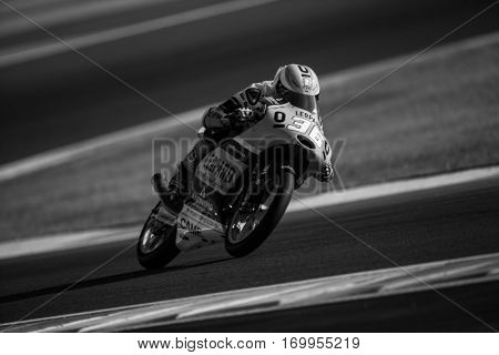 VALENCIA, SPAIN - NOV 11: Joan Mir during Moto3 practice in Motogp Grand Prix of the Comunidad Valencia on November 11, 2016 in Valencia, Spain.