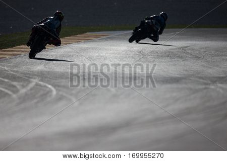 VALENCIA, SPAIN - NOV 11: Moto3 practice in Motogp Grand Prix of the Comunidad Valencia on November 11, 2016 in Valencia, Spain.