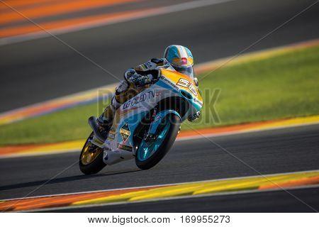 VALENCIA, SPAIN - NOV 11: Juanfran Guevara during Moto3 practice in Motogp Grand Prix of the Comunidad Valencia on November 11, 2016 in Valencia, Spain.