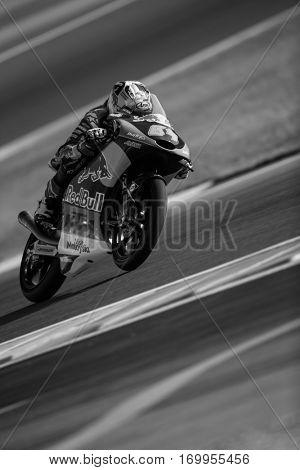 VALENCIA, SPAIN - NOV 11: Bo Bendsneyder during Moto3 practice in Motogp Grand Prix of the Comunidad Valencia on November 11, 2016 in Valencia, Spain.