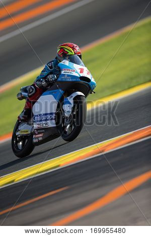 VALENCIA, SPAIN - NOV 11: Livio Loi during Moto3 practice in Motogp Grand Prix of the Comunidad Valencia on November 11, 2016 in Valencia, Spain.