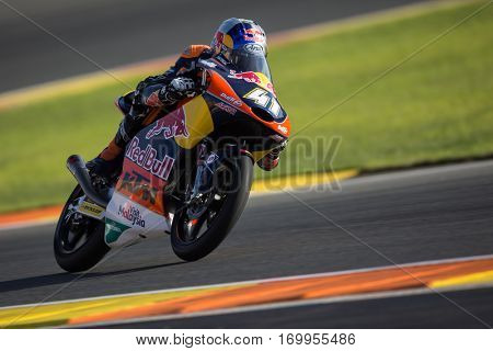 VALENCIA, SPAIN - NOV 11: Brad Binder during Moto3 practice in Motogp Grand Prix of the Comunidad Valencia on November 11, 2016 in Valencia, Spain.