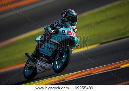 VALENCIA, SPAIN - NOV 11: Fabio Quartararo during Moto3 practice in Motogp Grand Prix of the Comunidad Valencia on November 11, 2016 in Valencia, Spain.