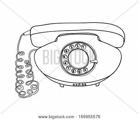 Orange Vintage Telephone Vector Hand Drawn Line Art Cute Illustration