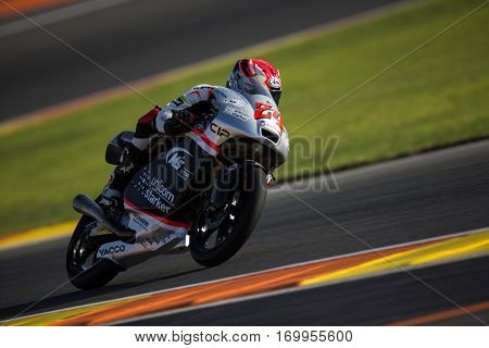 VALENCIA, SPAIN - NOV 11: Tatsuki Suzuki during Moto3 practice in Motogp Grand Prix of the Comunidad Valencia on November 11, 2016 in Valencia, Spain.