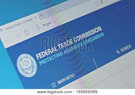 SARANSK, RUSSIA - FEBRUARY 06, 2017: A computer screen shows details of Federal Trade Commission main page on its web site. Selective focus.