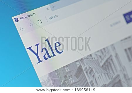 SARANSK, RUSSIA - FEBRUARY 06, 2017: A computer screen shows details of Yale University main page on its web site. Selective focus.