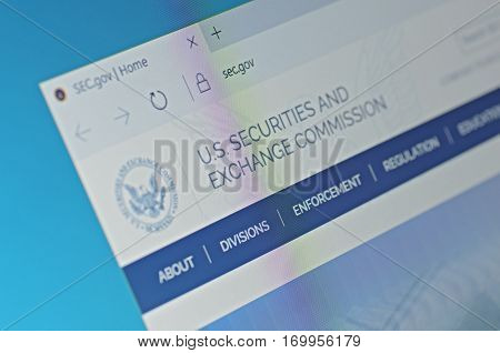 SARANSK, RUSSIA - FEBRUARY 06, 2017: A computer screen shows details of U.S. Securities and Exchange Commission main page on its web site. Selective focus.