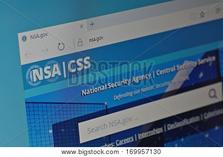 SARANSK, RUSSIA - JANUARY 17, 2017: A computer screen shows details of National Security Agency (NSA) main page on its web site. Selective focus.