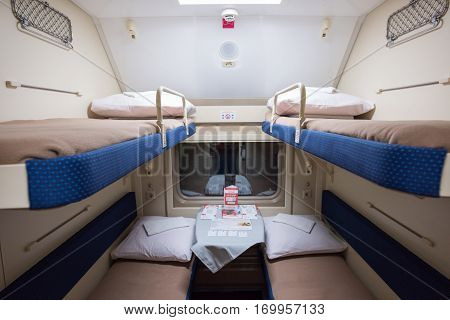 A Train Compartment, Following The Route St. Petersburg-moscow