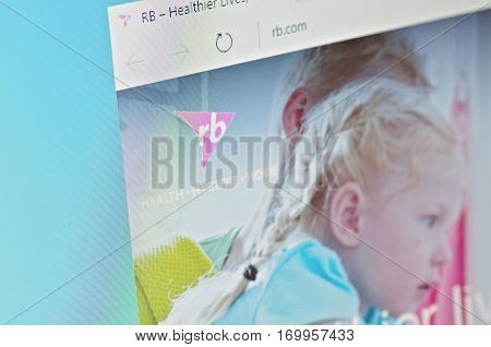 SARANSK, RUSSIA - JANUARY 17, 2017: A computer screen shows details of Reckitt Benckiser main page on its web site. Selective focus.