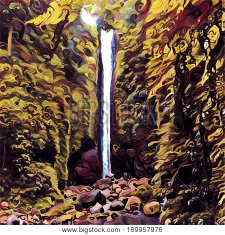 Digital illustration - The waterfall autumn colors. Tall waterfall in autumn forest. Fall season natural landscape. Seasonal forest view with waterfall and rocks. Drawn picture of water fall in bush