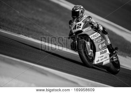 VALENCIA, SPAIN - NOV 12: Federico Fuligni in Moto2 practice during Motogp Grand Prix of the Comunidad Valencia on November 12, 2016 in Valencia, Spain.