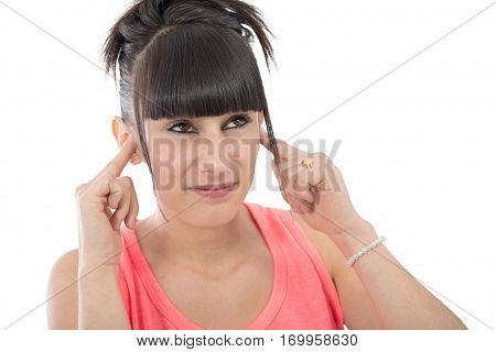 Brunette woman with a earache on white background