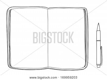 notebook sketchbook Mockup blank paper and Pen hand drawn vector line art illustration
