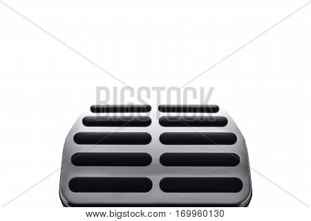 Sport car steel pedals, isolated on white. Selective focus