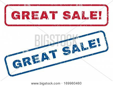 Great Sale exclamation text rubber seal stamp watermarks. Vector style is blue and red ink tag inside rounded rectangular shape. Grunge design and dirty texture. Blue and red signs.