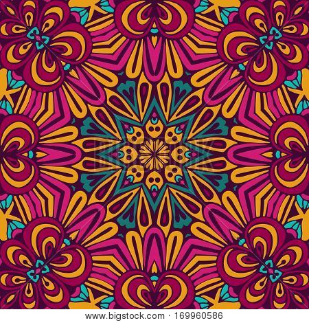 Abstract Tribal vintage ethnic seamless pattern ornamental. Bright festive sun mosaic