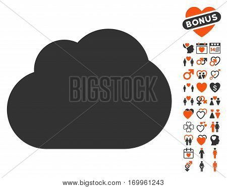 Cloud pictograph with bonus marriage symbols. Vector illustration style is flat iconic symbols for web design app user interfaces.