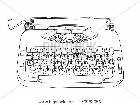 Typewriter Creme And Blue Vintage Vector Line Art Cute Illustration
