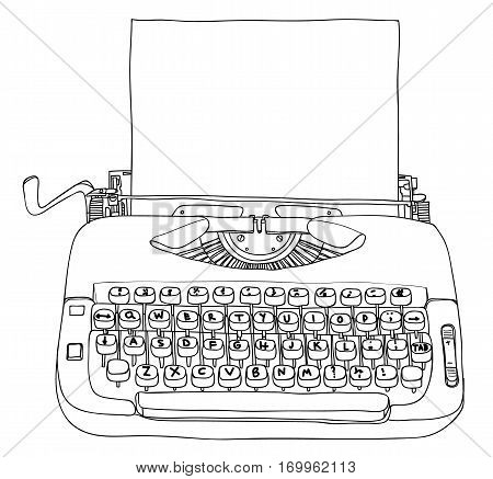Typewriter Creme And Blue With Blank Paper Vintage Vector Line Art Cute Illustration