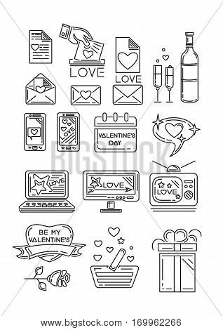 Line icons set for Valentine's Day and other romantic events. Gift box, calendar, rose flower, romantic message, appliances, heart with an inscription - Be my Valentine. Vector illustration