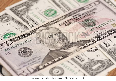 SARANSK, RUSSIA - FEBRUARY 5, 2017: Closeup shot of United States fifty-dollar bill.