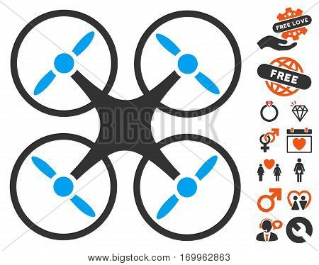 Nanocopter pictograph with bonus decorative icon set. Vector illustration style is flat iconic symbols for web design app user interfaces.