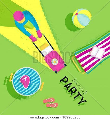 Backyard party poster with lawnmower man deck chair bbq grill beach ball flip flops book meat bright colorful modern style