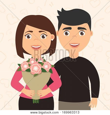 Romantic couple man and woman. The boyfriend hugs his girlfriend. Happy International women's day. Girl holding a bouquet of flowers in his hands. Cute lovely character in cartoon style . Vector.
