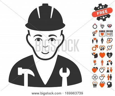 Serviceman pictograph with bonus valentine pictograph collection. Vector illustration style is flat iconic elements for web design app user interfaces.