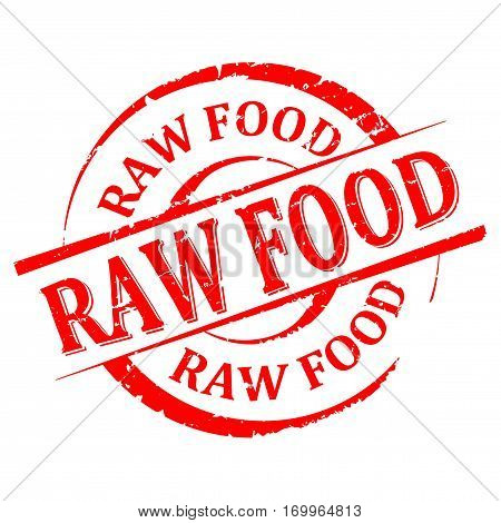 Scratched round red stamp with the word - raw food - vector
