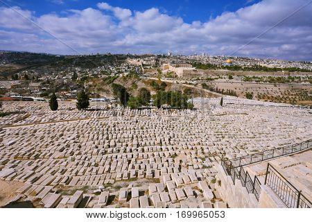 The ancient Jewish cemetery on the Mount of Olives. In the distance the neighborhoods of Jerusalem
