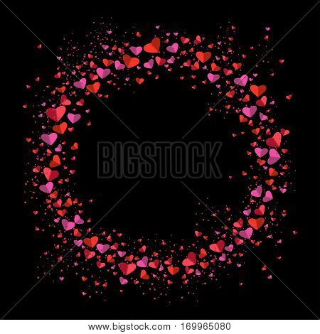 Romantic circle of small and big flat hearts on black background. Valentine card. Congratulation enamored day. Beautiful love confession. Vector illustration