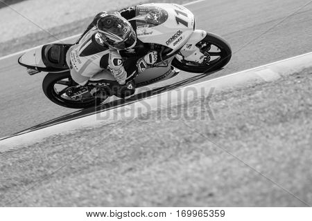 VALENCIA, SPAIN - NOV 11: Livio Loi in Moto3 practice during Motogp Grand Prix of the Comunidad Valencia on November 11, 2016 in Valencia, Spain.