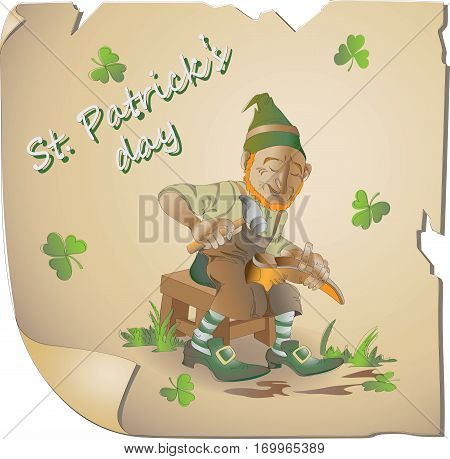Fabulous shoes. Leprechaun. St. Patrick's Day. Vector image of the hero national holiday. Cartoon-style.