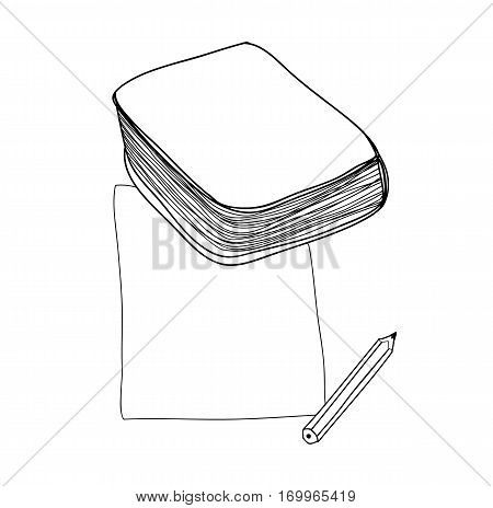Vector Paper Note And Book Hand Drawn Cute Line Art Illustration