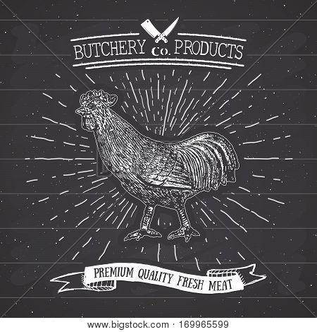 Butcher Shop Vintage Emblem Rooster Meat Products, Butchery Logo Template Retro Style. Vintage Desig