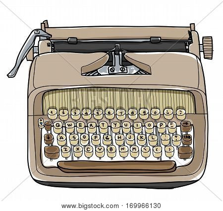 Vectot Typewriter Working Portable Hand Drawn Cute Illustration