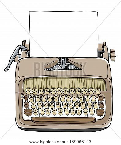 Vectot Typewriter Working Portable With Paper Hand Drawn Cute Illustration