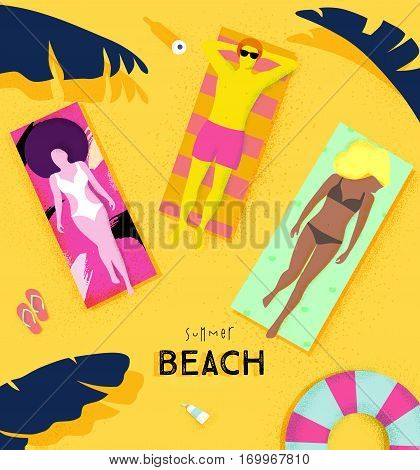 Summer beach poster with people lying on deck chair under the sun on the beach bright colorful modern style