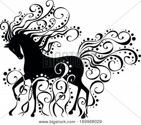 Isolated vector image of a stylized horse with curls