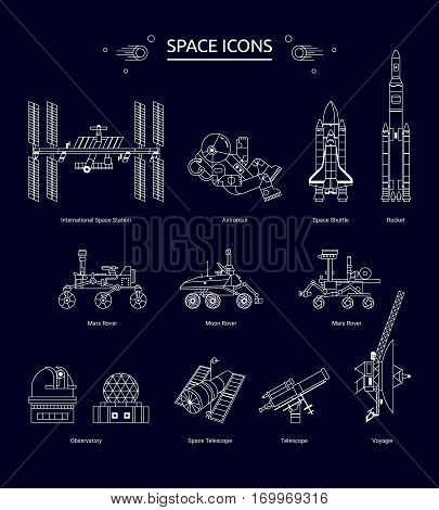 Set of line design space icons. The Space Station astronaut Shuttle Rocket Rover Telescope and Observatory.