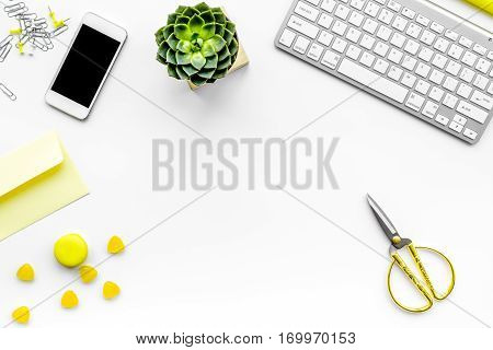 female desktop with smartphone and flowers top view mock up no one
