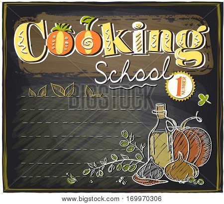 Cooking school chalkboard design with place for text, rasterized version
