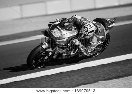 VALENCIA, SPAIN - NOV 11: Maverick Vinales during Motogp Grand Prix of the Comunidad Valencia on November 11, 2016 in Valencia, Spain.